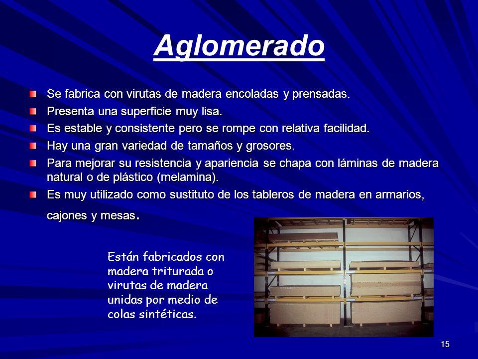 Aglomerado Se fabrica con virutas de madera encoladas y prensadas.