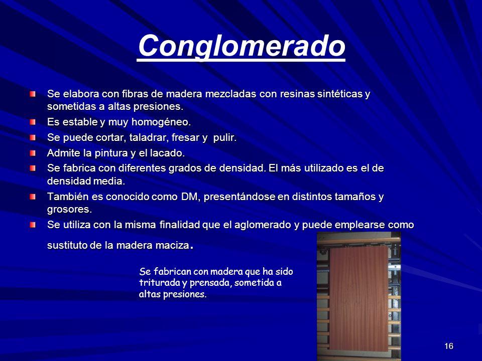 Conglomerado Se elabora con fibras de madera mezcladas con resinas sintéticas y sometidas a altas presiones.