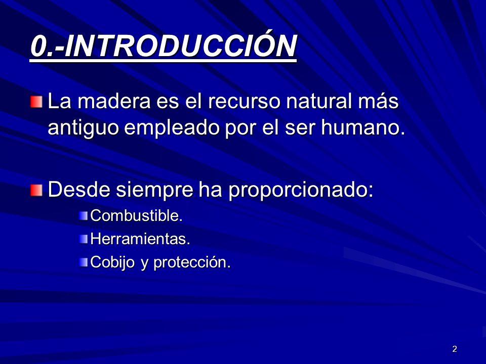 0.-INTRODUCCIÓN La madera es el recurso natural más antiguo empleado por el ser humano. Desde siempre ha proporcionado: