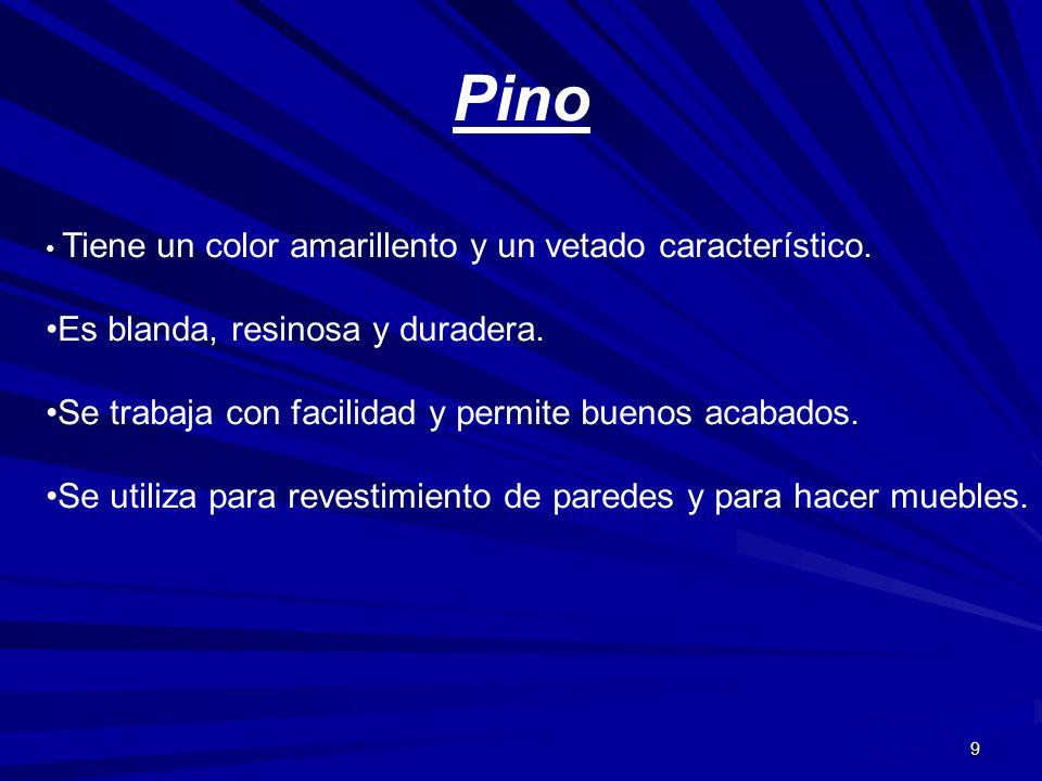 Pino Es blanda, resinosa y duradera.