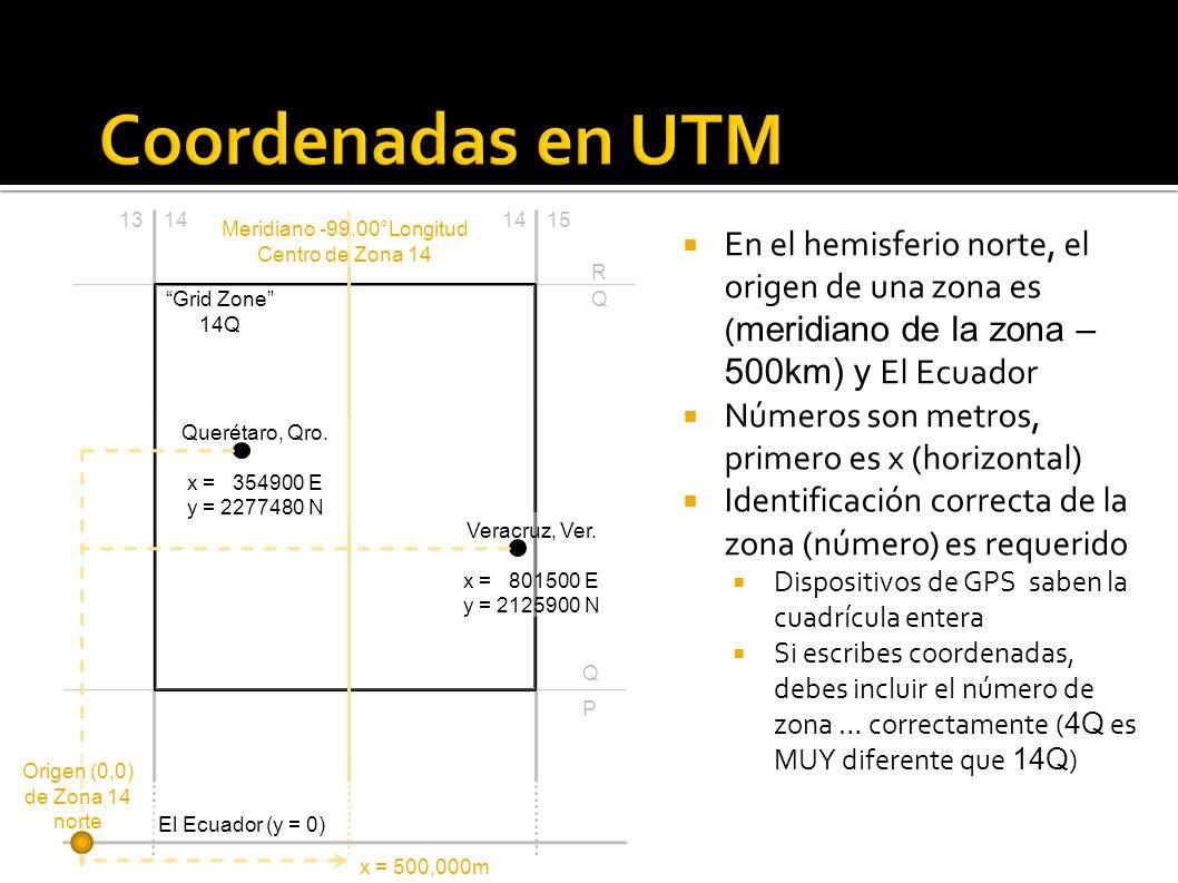 Coordenadas en UTM 13. 14. 14. 15. Meridiano -99.00°Longitud. Centro de Zona 14.