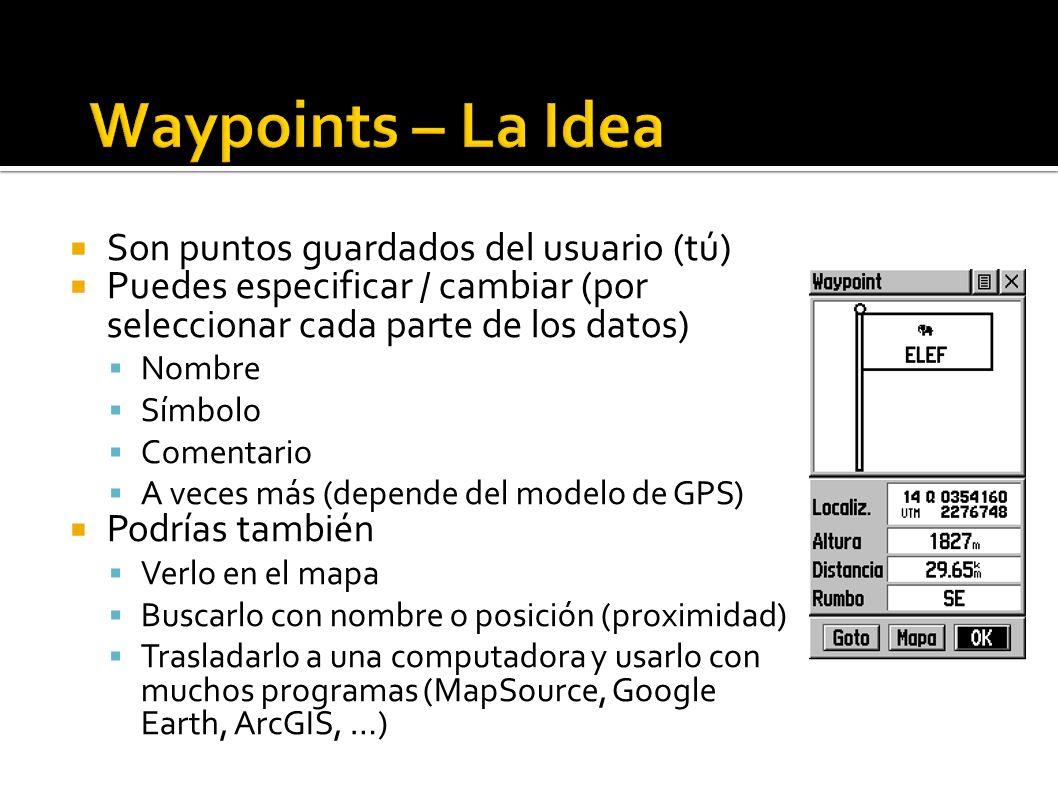 Waypoints – La Idea Son puntos guardados del usuario (tú)