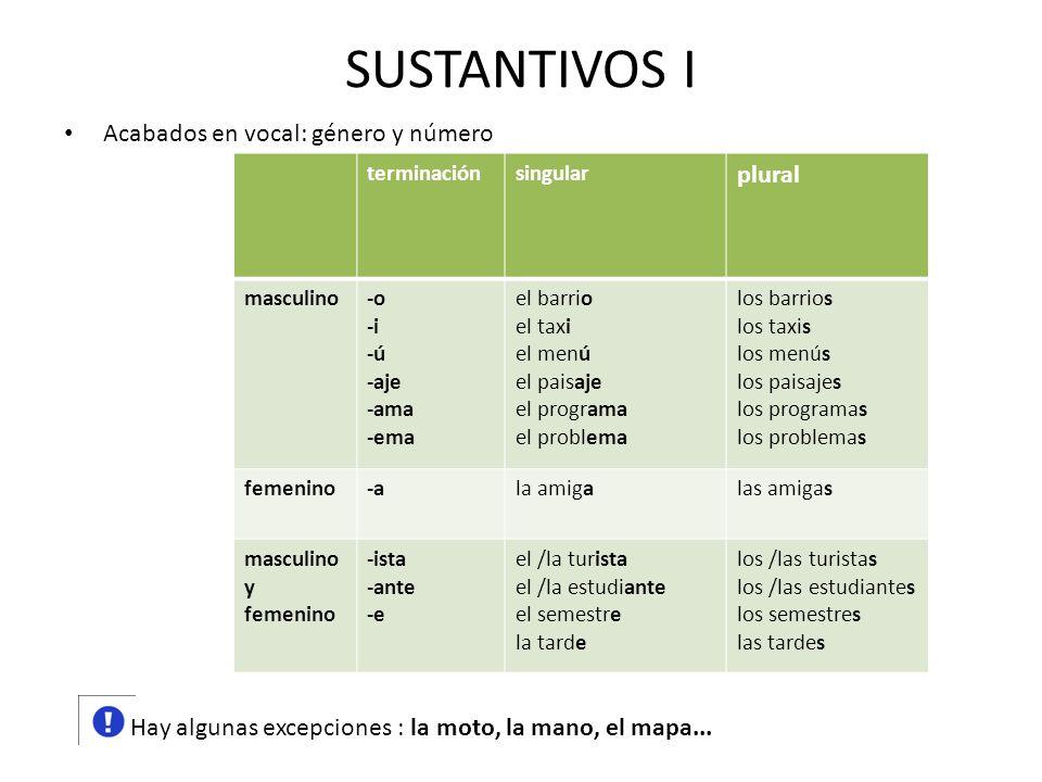SUSTANTIVOS I plural Acabados en vocal: género y número
