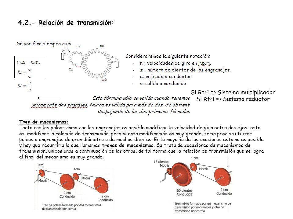 4.2.- Relación de transmisión: