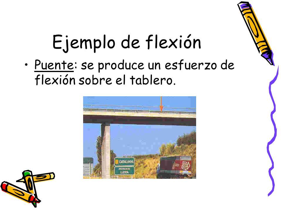 Ejemplo de flexión Puente: se produce un esfuerzo de flexión sobre el tablero.