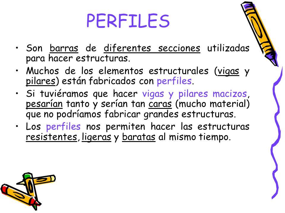 PERFILES Son barras de diferentes secciones utilizadas para hacer estructuras.