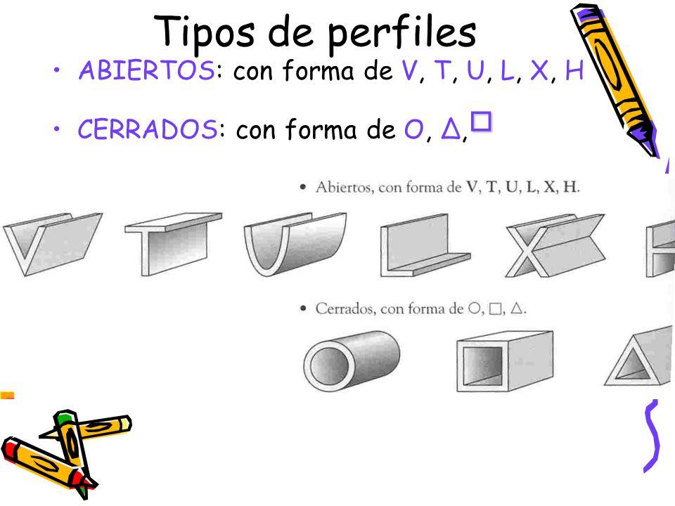 Tipos de perfiles ABIERTOS: con forma de V, T, U, L, X, H