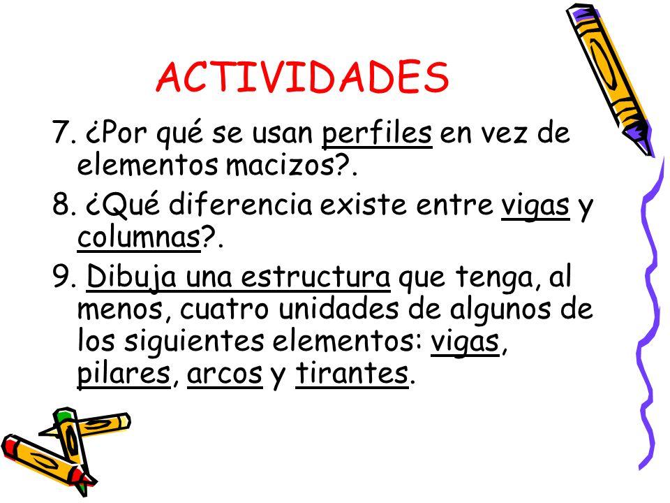 ACTIVIDADES 7. ¿Por qué se usan perfiles en vez de elementos macizos .