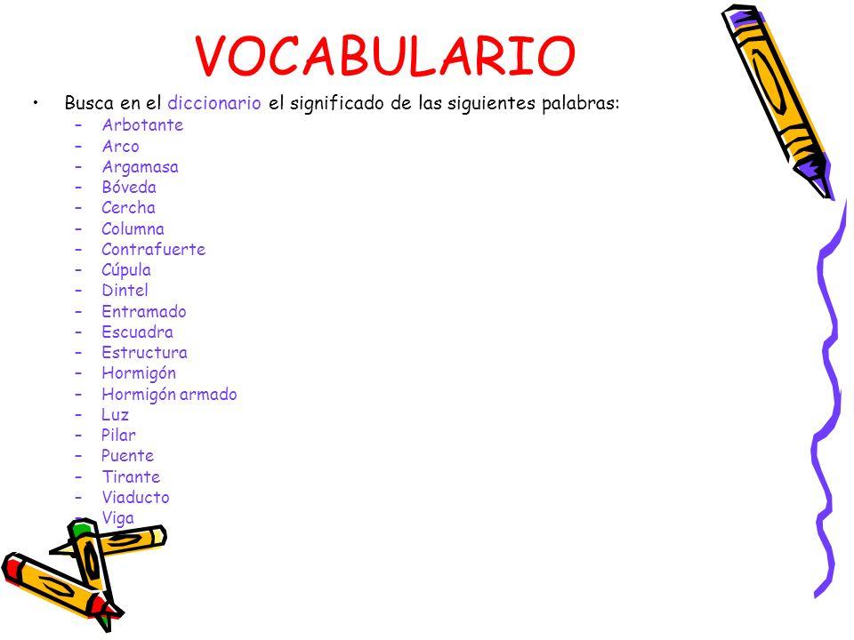 VOCABULARIO Busca en el diccionario el significado de las siguientes palabras: Arbotante. Arco. Argamasa.