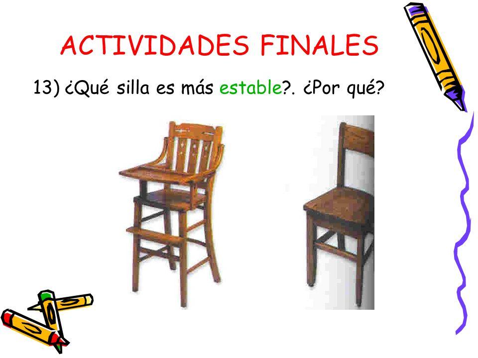 ACTIVIDADES FINALES 13) ¿Qué silla es más estable . ¿Por qué