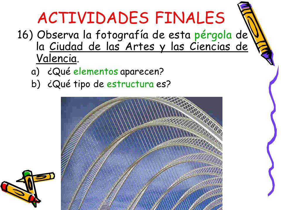ACTIVIDADES FINALES 16) Observa la fotografía de esta pérgola de la Ciudad de las Artes y las Ciencias de Valencia.