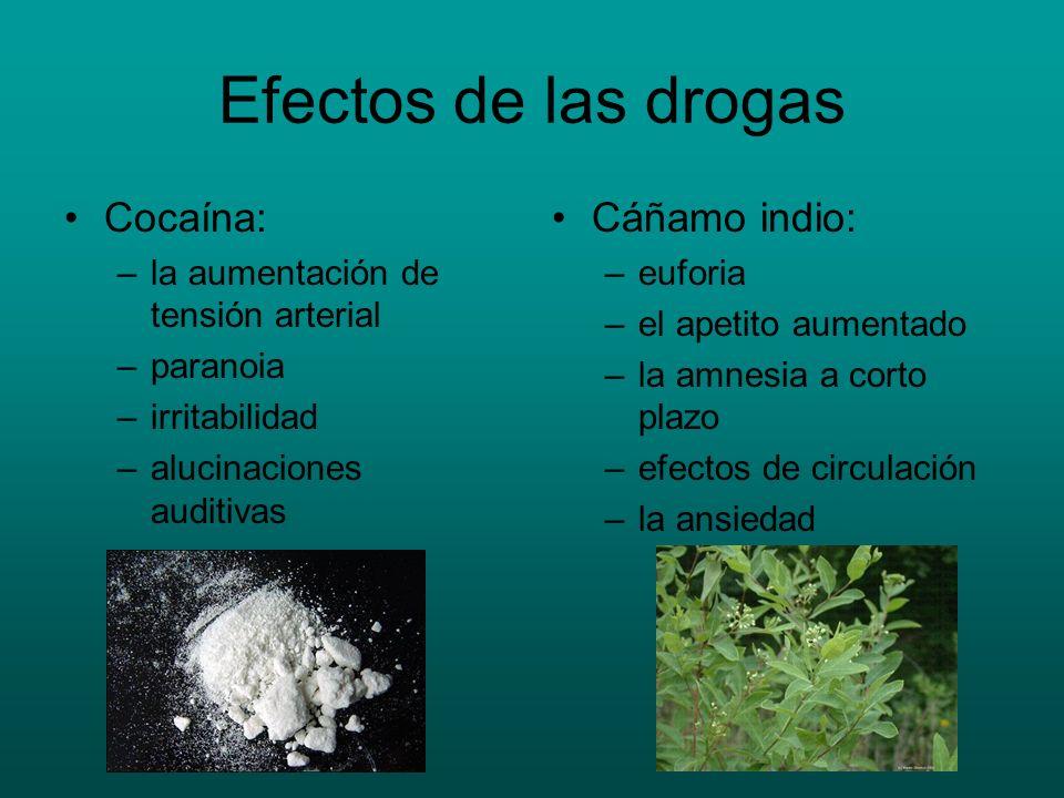 Efectos de las drogas Cocaína: Cáñamo indio: