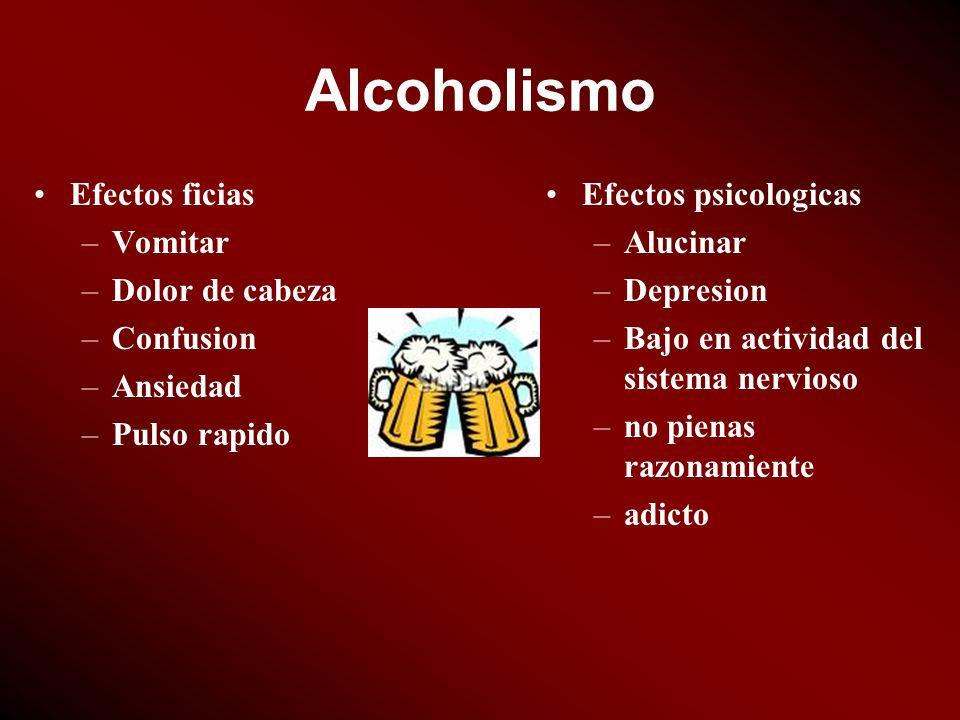 Alcoholismo Efectos ficias Vomitar Dolor de cabeza Confusion Ansiedad
