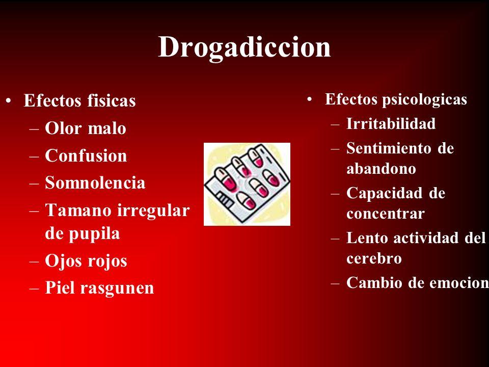 Drogadiccion Efectos fisicas Olor malo Confusion Somnolencia