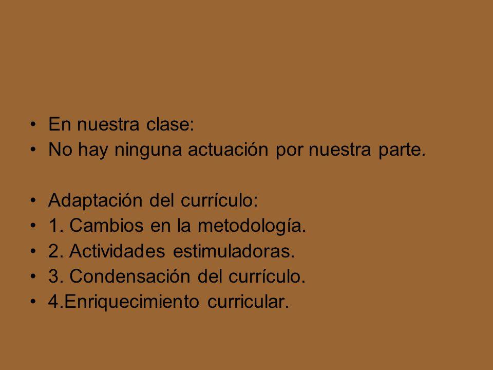 En nuestra clase: No hay ninguna actuación por nuestra parte. Adaptación del currículo: 1. Cambios en la metodología.