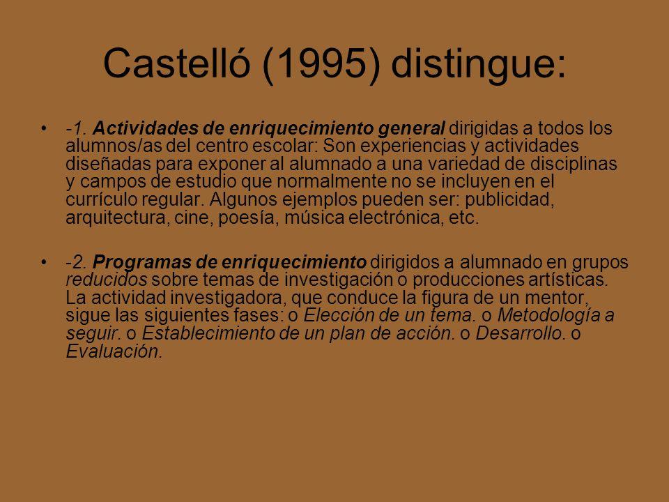 Castelló (1995) distingue: