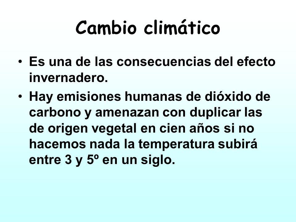 Cambio climático Es una de las consecuencias del efecto invernadero.