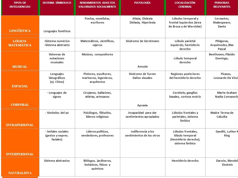 TIPOS DE INTELIGENCIAS SISTEMA SÍMBOLICO