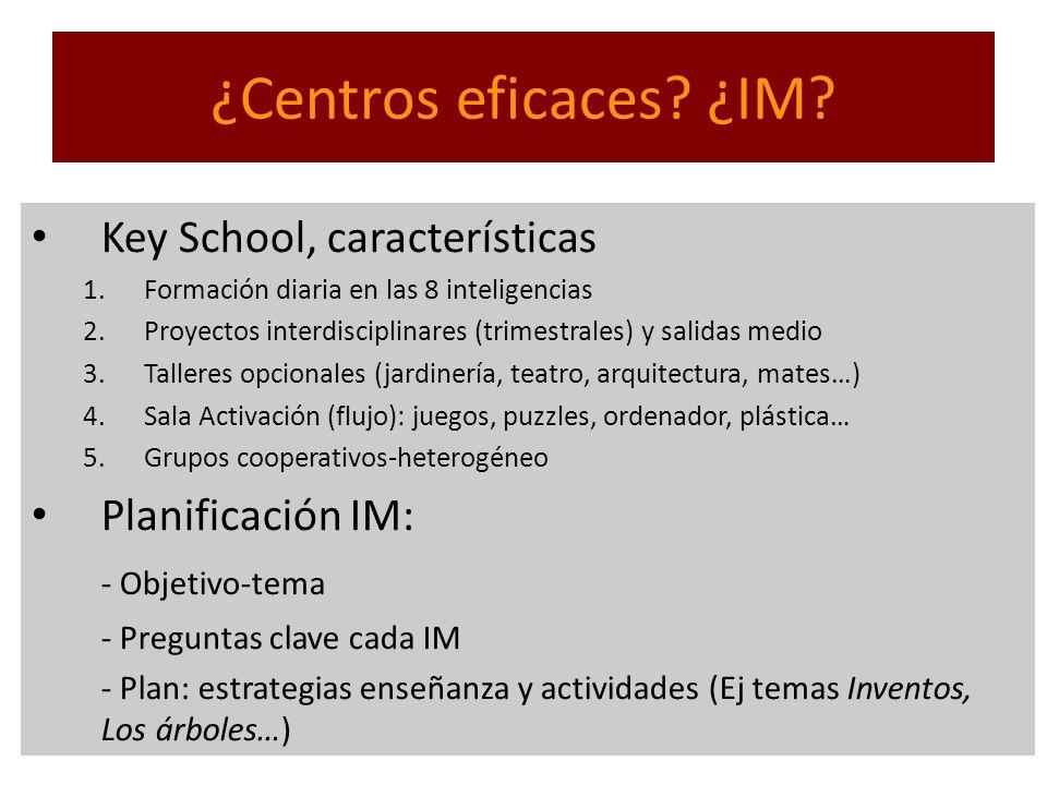 ¿Centros eficaces ¿IM Key School, características Planificación IM: