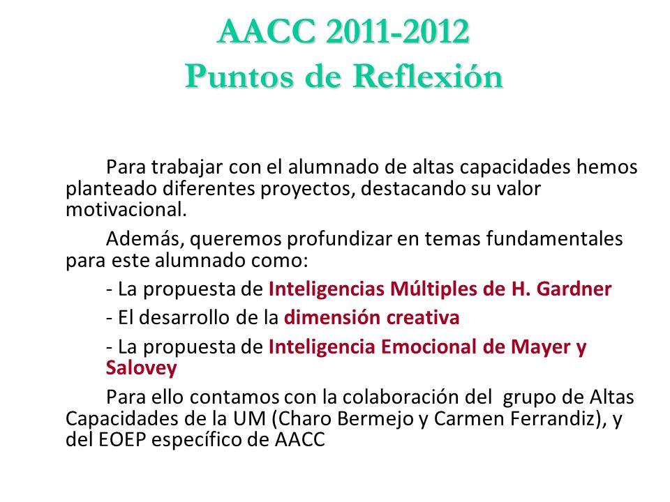 AACC 2011-2012 Puntos de Reflexión