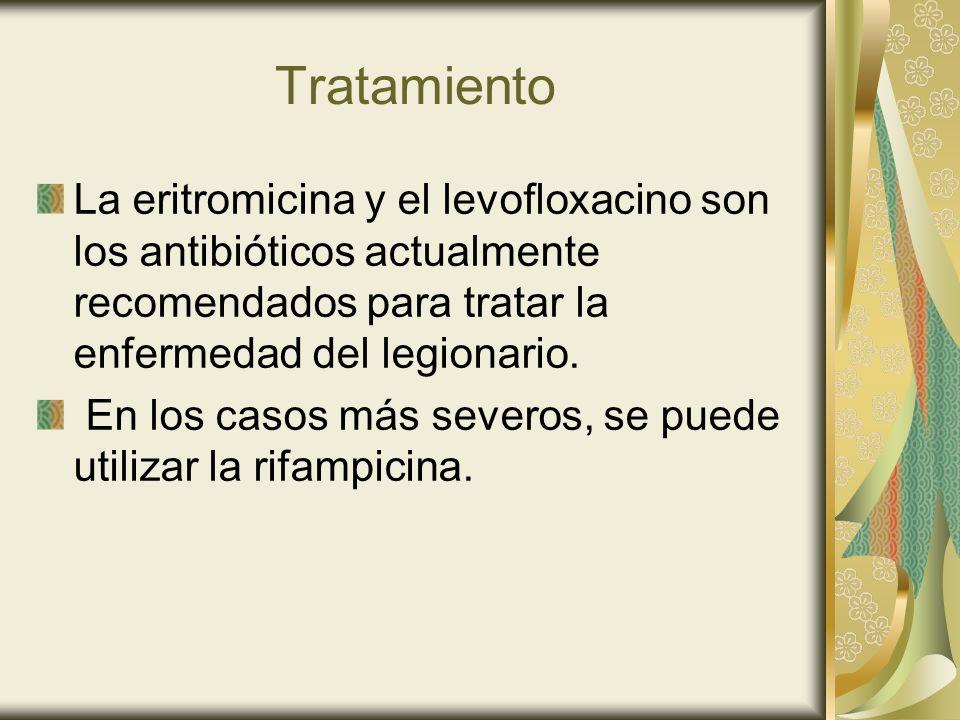 Tratamiento La eritromicina y el levofloxacino son los antibióticos actualmente recomendados para tratar la enfermedad del legionario.