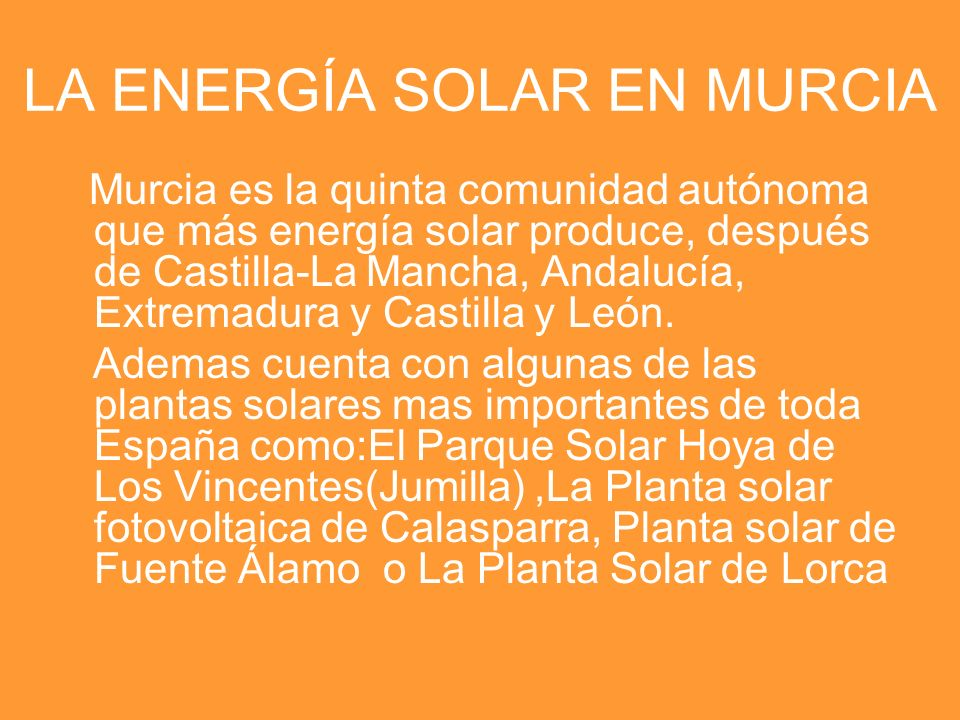 LA ENERGÍA SOLAR EN MURCIA