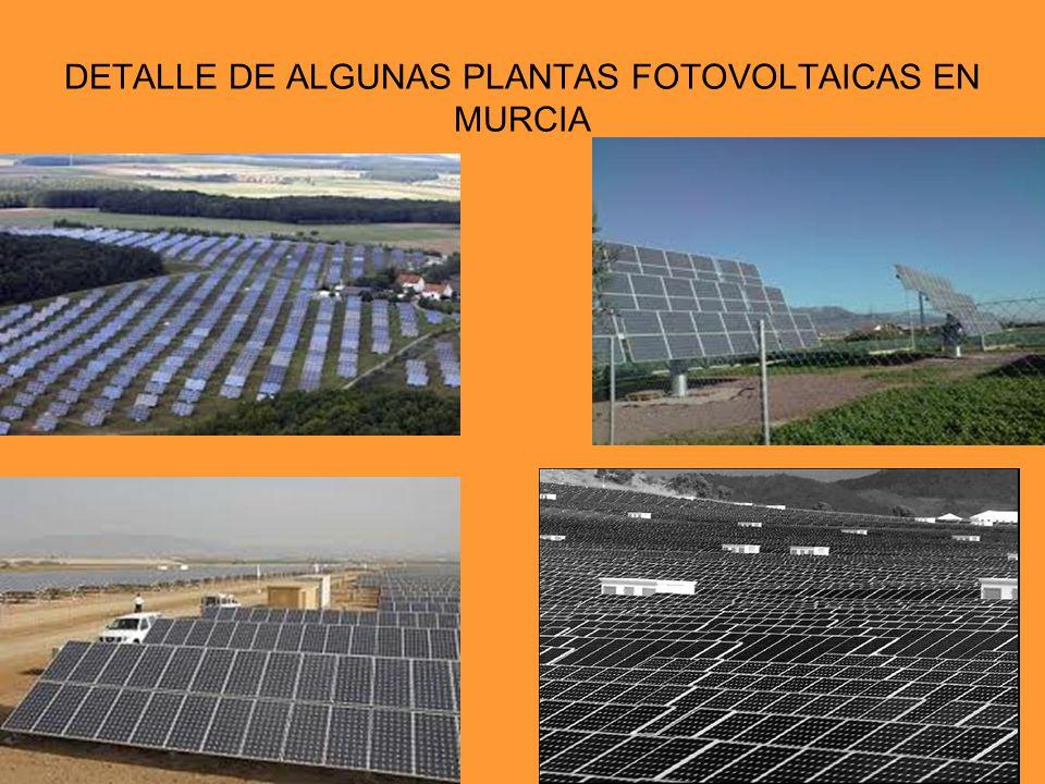 DETALLE DE ALGUNAS PLANTAS FOTOVOLTAICAS EN MURCIA