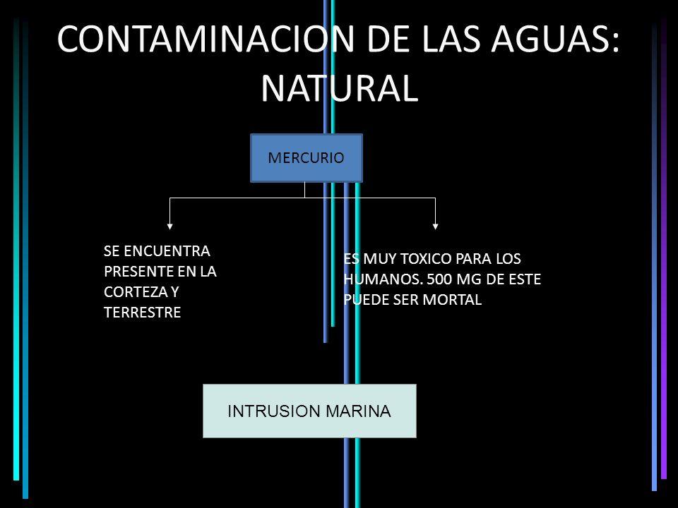 CONTAMINACION DE LAS AGUAS: NATURAL