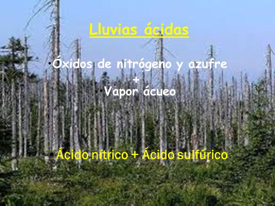 Óxidos de nitrógeno y azufre Ácido nítrico + Ácido sulfúrico
