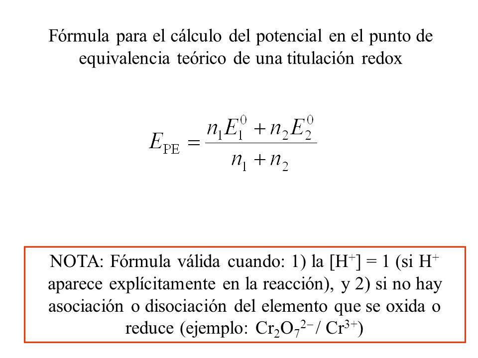 Fórmula para el cálculo del potencial en el punto de equivalencia teórico de una titulación redox