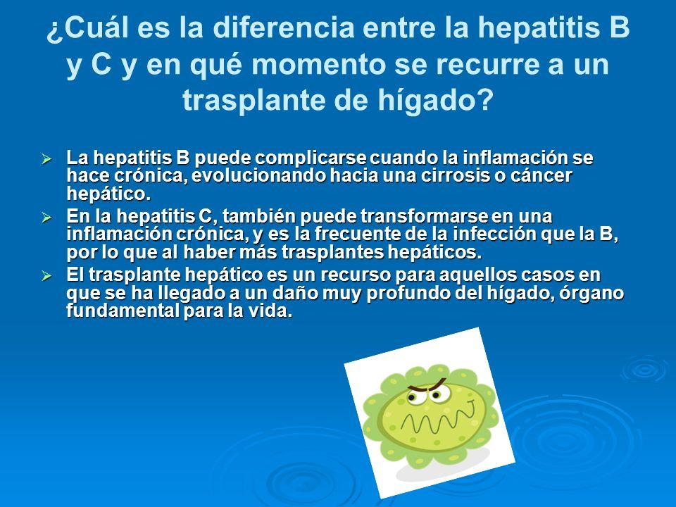 ¿Cuál es la diferencia entre la hepatitis B y C y en qué momento se recurre a un trasplante de hígado
