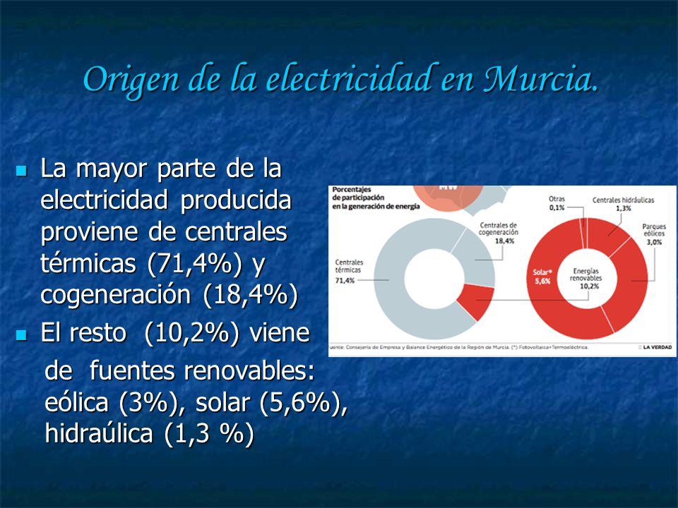 Origen de la electricidad en Murcia.