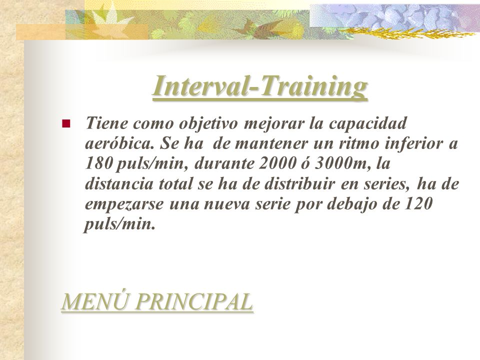 Interval-Training MENÚ PRINCIPAL