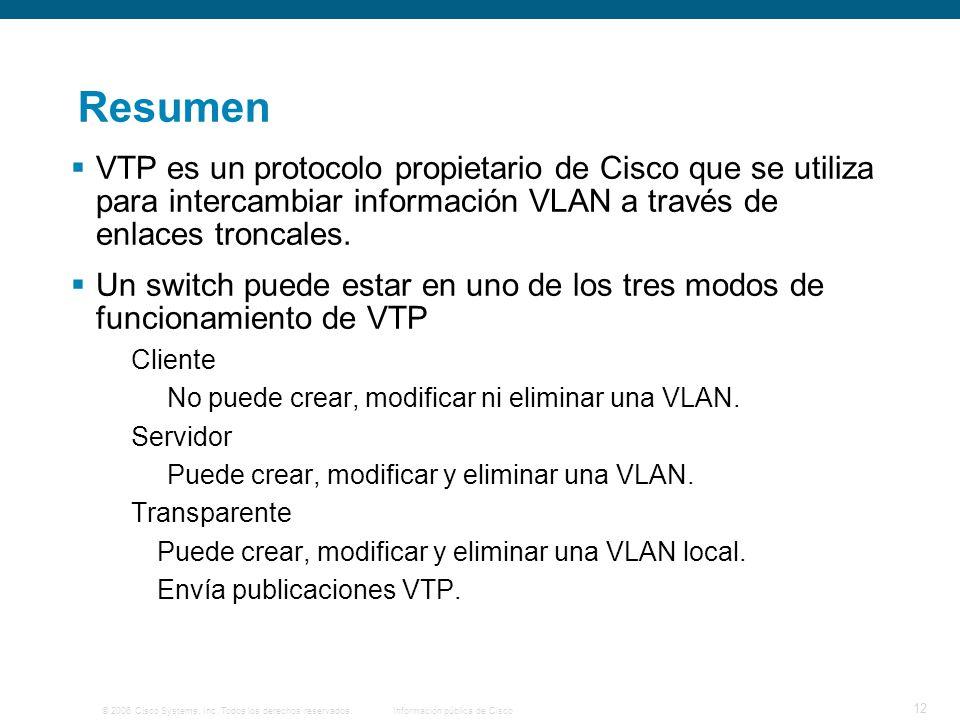 Resumen VTP es un protocolo propietario de Cisco que se utiliza para intercambiar información VLAN a través de enlaces troncales.