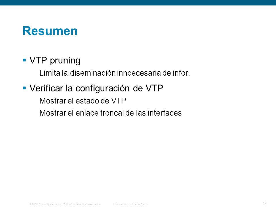 Resumen VTP pruning Verificar la configuración de VTP