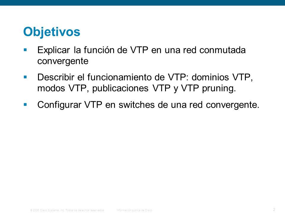 Objetivos Explicar la función de VTP en una red conmutada convergente
