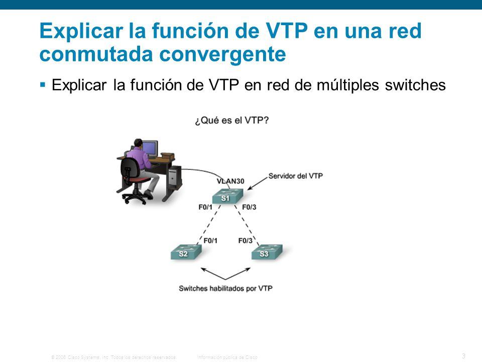 Explicar la función de VTP en una red conmutada convergente