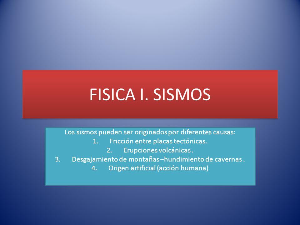 FISICA I. SISMOS Los sismos pueden ser originados por diferentes causas: Fricción entre placas tectónicas.