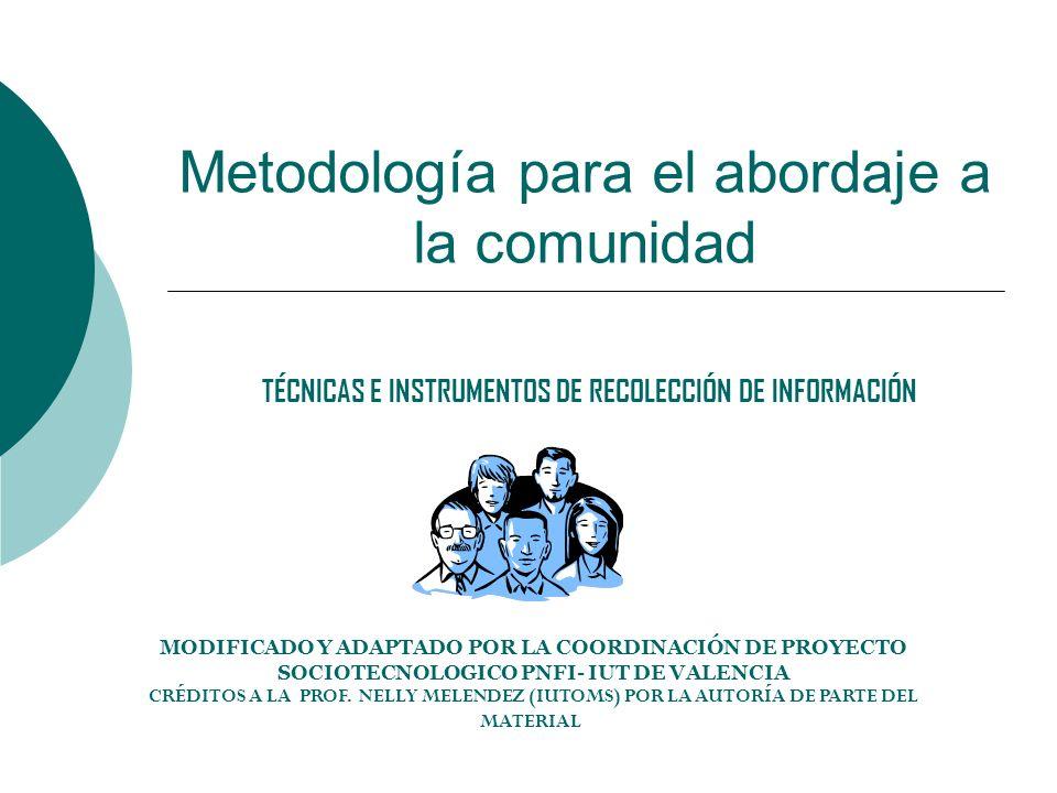Metodología para el abordaje a la comunidad