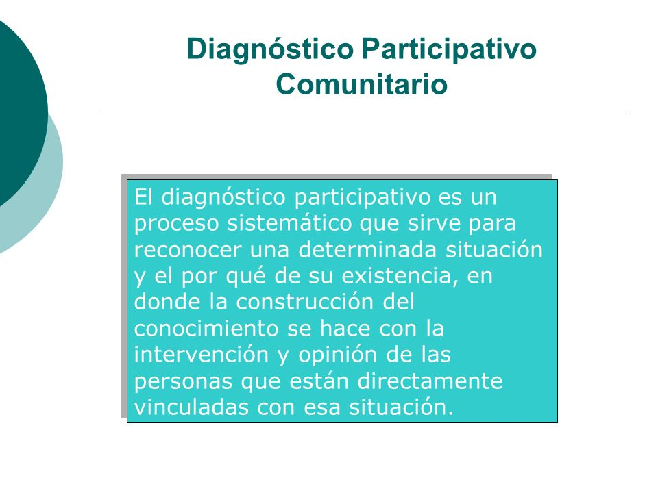 Diagnóstico Participativo Comunitario