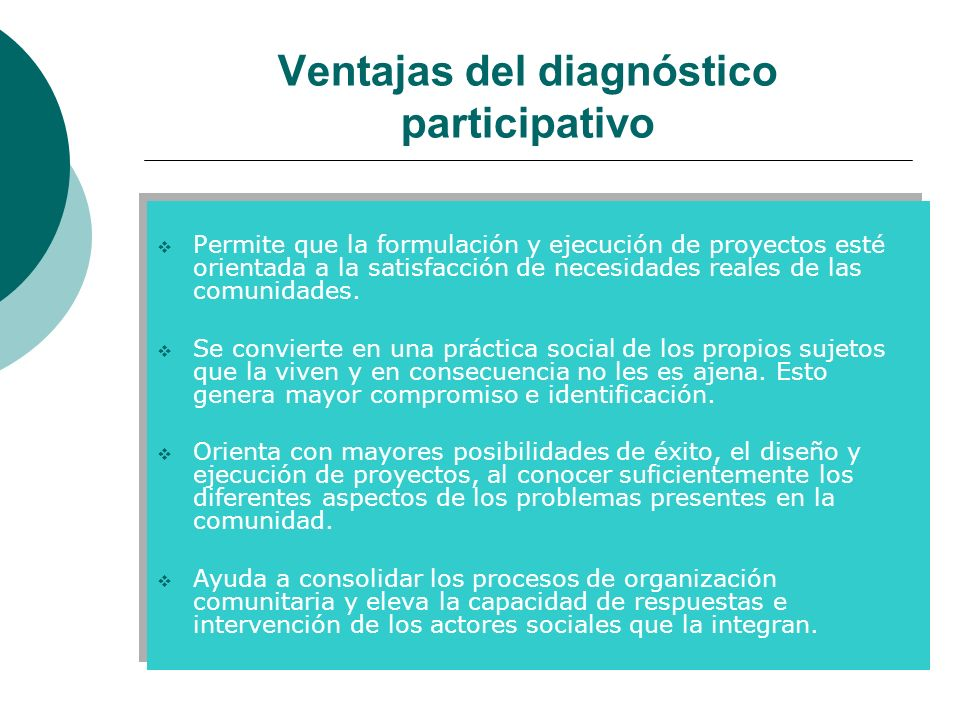 Ventajas del diagnóstico participativo