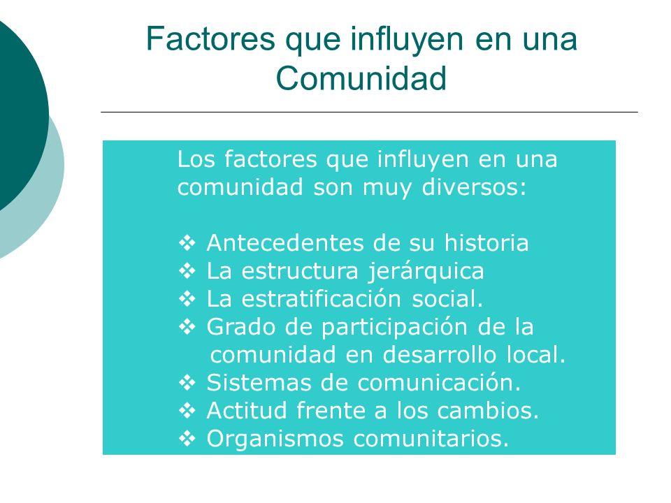 Factores que influyen en una Comunidad