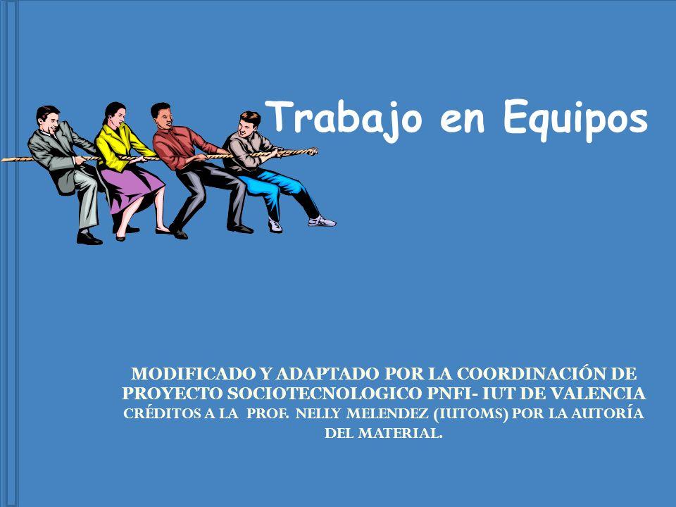 Trabajo en Equipos MODIFICADO Y ADAPTADO POR LA COORDINACIÓN DE PROYECTO SOCIOTECNOLOGICO PNFI- IUT DE VALENCIA.