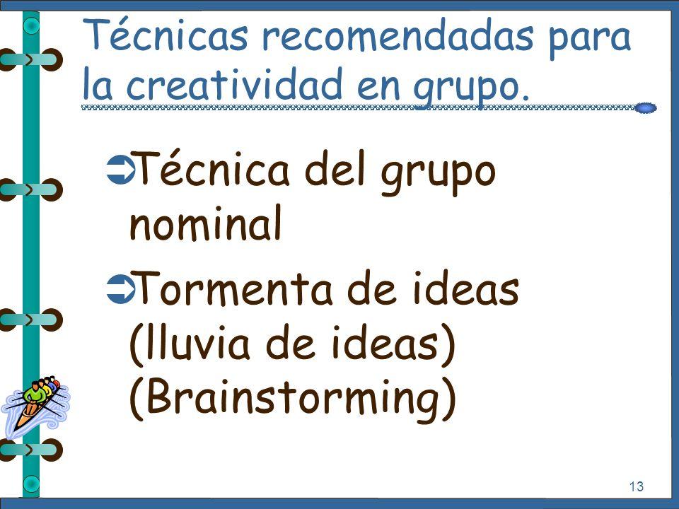 Técnicas recomendadas para la creatividad en grupo.