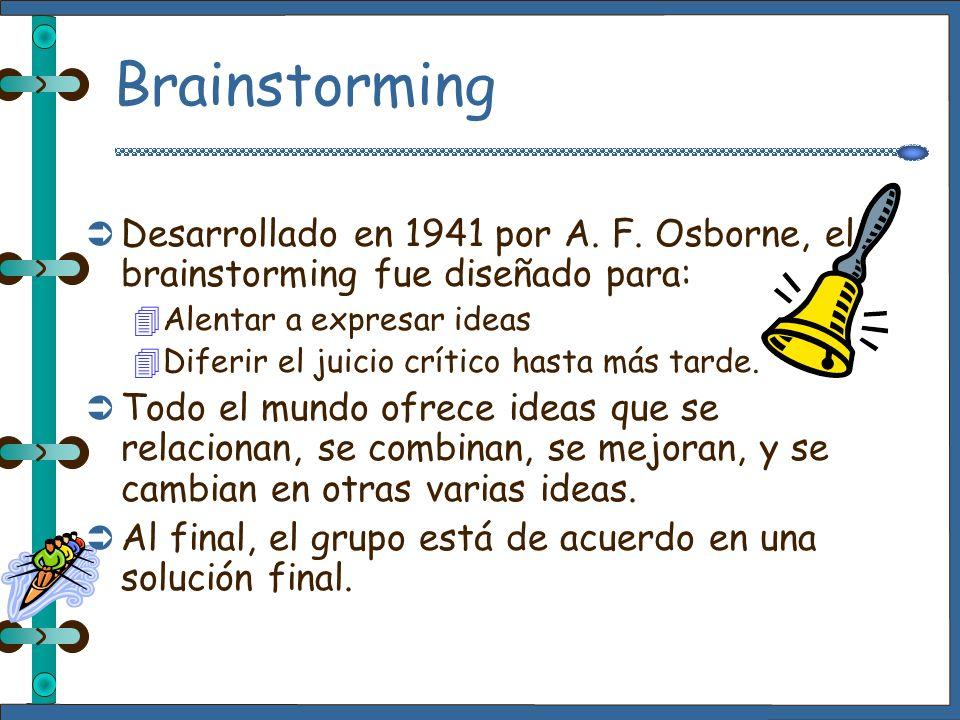 Brainstorming Desarrollado en 1941 por A. F. Osborne, el brainstorming fue diseñado para: Alentar a expresar ideas.