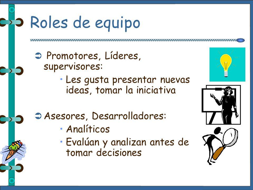 Roles de equipo Promotores, Líderes, supervisores: