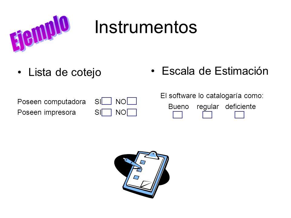 Instrumentos Ejemplo Escala de Estimación Lista de cotejo