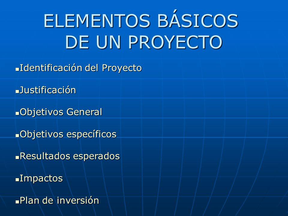 ELEMENTOS BÁSICOS DE UN PROYECTO Identificación del Proyecto