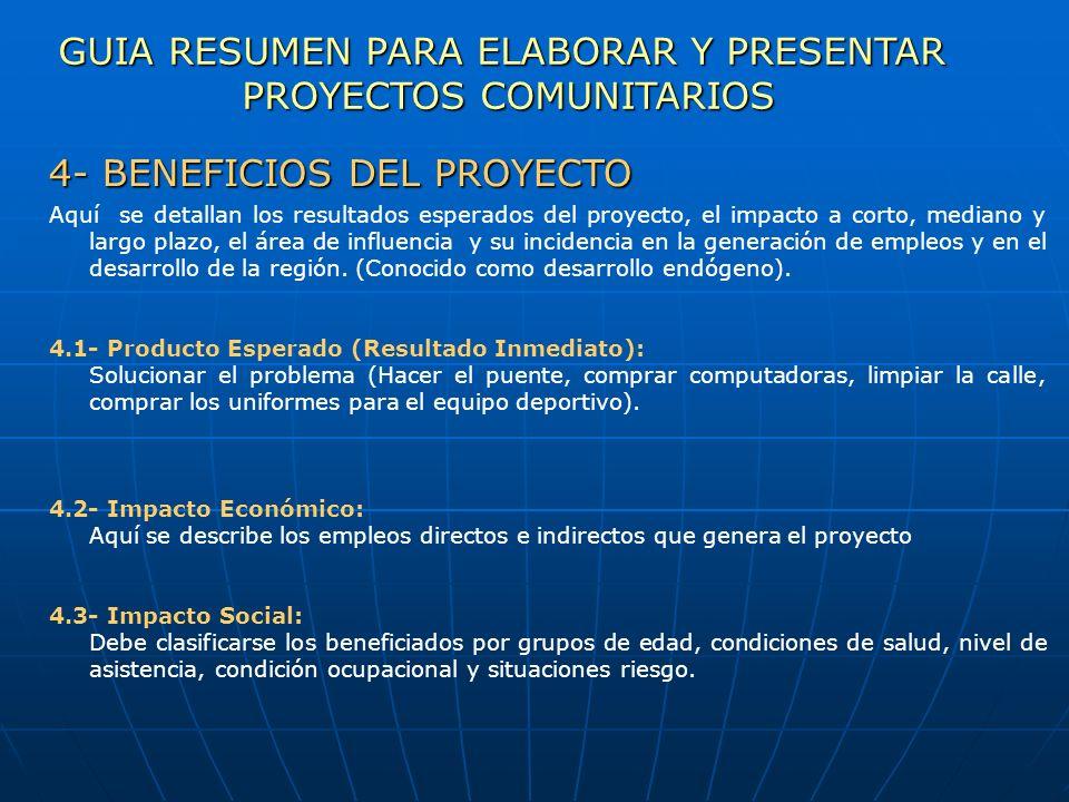 GUIA RESUMEN PARA ELABORAR Y PRESENTAR PROYECTOS COMUNITARIOS