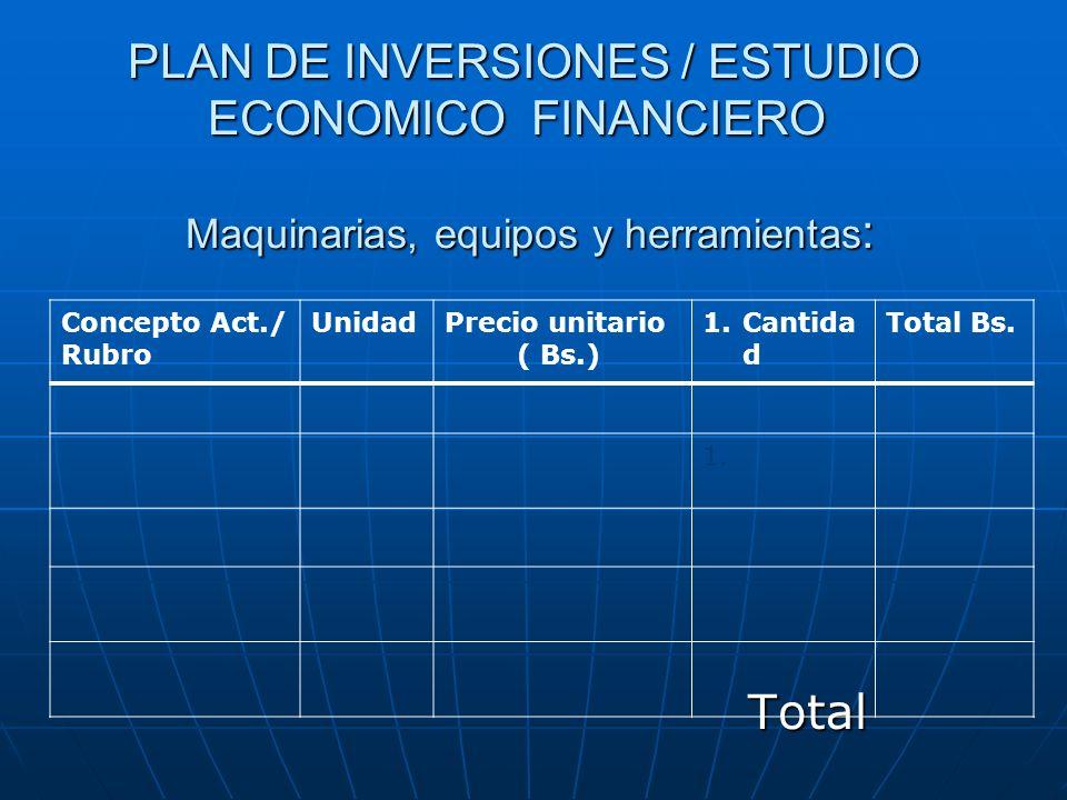 PLAN DE INVERSIONES / ESTUDIO ECONOMICO FINANCIERO Maquinarias, equipos y herramientas: